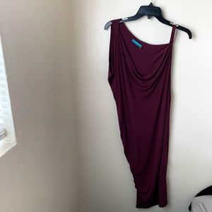 Alice + Olivia One Shoulder Dress Maroon Cowl Neck